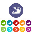 motorcycle helmet icons set color vector image