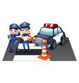 Police officers at the road vector image vector image