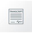 school transcript icon line symbol premium vector image vector image