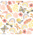 seamless pattern butterflies and rainbows vector image