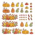 set autumn pumpkin gourds element designs vector image