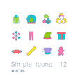 set simple line icons winter vector image vector image