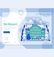 ski resort landing page in line art design vector image