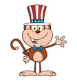 smiling monkey character with patriotic hat vector image vector image