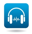Sound in headphones icon flat style vector image vector image