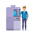 student customer stands next to atm terminal vector image vector image