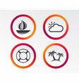 travel icons sail boat with lifebuoy signs vector image
