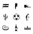 typical argentina icons set simple style vector image vector image