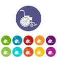 Wheelchair set icons vector image vector image