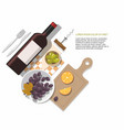 wine bottle olives and grapes on white tasting vector image