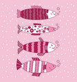 fish editable set pink monochromatic vector image