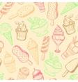 seamless pattern hand-drawn ice cream vector image