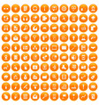 100 mobile icons set orange vector image vector image