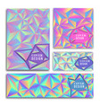 abstract low poly 90s holographic card collection vector image