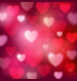 abstract romantic red background with hearts and vector image vector image