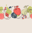 autumn fruits linear background vector image vector image