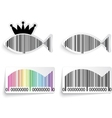 Barcode fish label set vector image