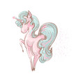 beautiful cute girl unicorn with long lashes vector image vector image