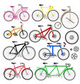 bicycles and parts vector image