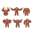 bigfoot set poses and motion yeti happy and yoga vector image vector image