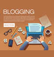 blogging concept writing story book and blog vector image vector image