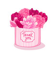 bouquet with pink flowers roses tulips in pink vector image vector image