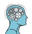 brain and head mechanical gears in progress vector image