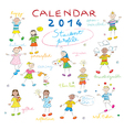 calendar 2014 kids cover vector image