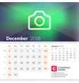 calendar for december 2018 week starts on sunday vector image vector image