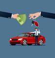 car dealers hand make an exchange between vector image vector image