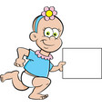 cartoon baby girl running while holding a sign vector image vector image