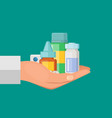 cartoon hand pile of medicines vector image vector image