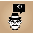 cartoon hipster monocle glass retro vector image vector image