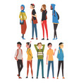 cheerful guys and girls in casual clothes vector image vector image