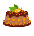 chocolate cake torte with orange topping vector image