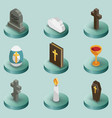 christianity color isometric icons vector image