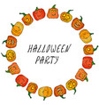 circle frame of cute halloween pumpkins autumn or vector image vector image