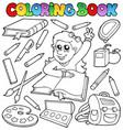 coloring book school topic 1 vector image vector image