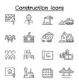 construction icons set in thin line style vector image
