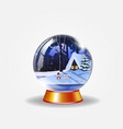 crystal snow globe of winter snowy night vector image vector image