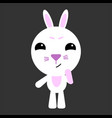 cute rabbit rabbit thinks gray background vector image vector image