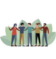 five people a group friends posing for a photo vector image vector image