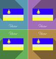 Flags Buryatia Set of colors flat design and long vector image vector image
