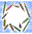 frame decorative colored pencils vector image vector image