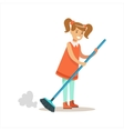 Grl Cleanning Floor Off Dust Smiling Cartoon Kid vector image vector image