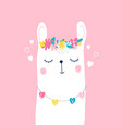 hand drawing llama and flower crown vector image vector image
