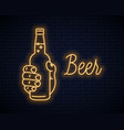 hand hold beer bottle neon sign male hand beer vector image