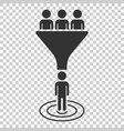 lead management icon in flat style funnel with vector image vector image