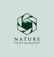 lens photography logo designs with mountain symbol vector image