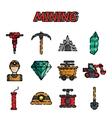 Mining flat icon set vector image